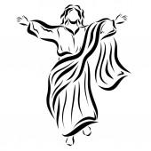Jesus steigt in den Himmel auf und segnet die Menschen