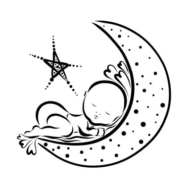 Baby sleeping on the moon, hearts and a star