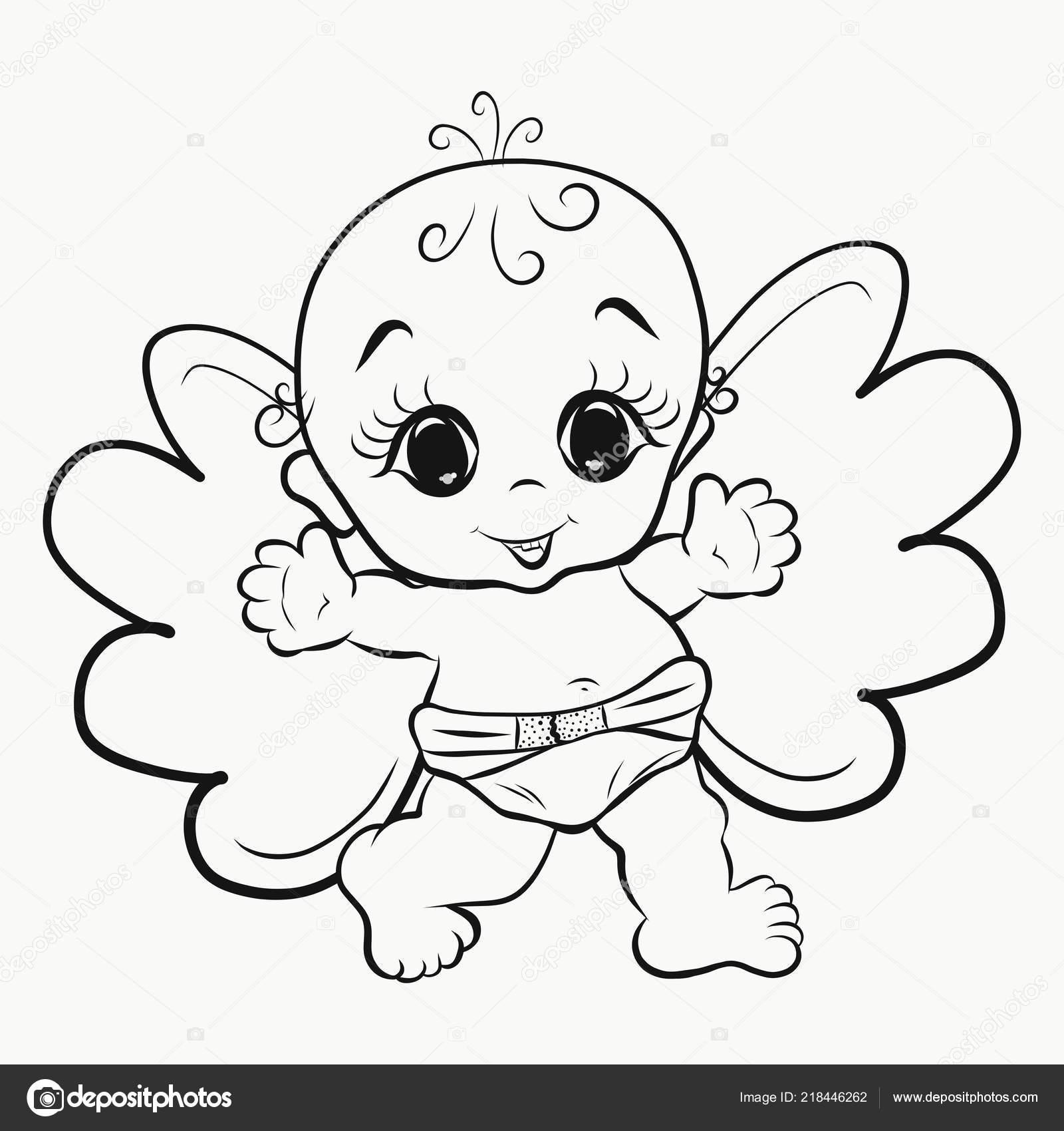 Angel Para Colorear Poco Alegre Foto De Stock
