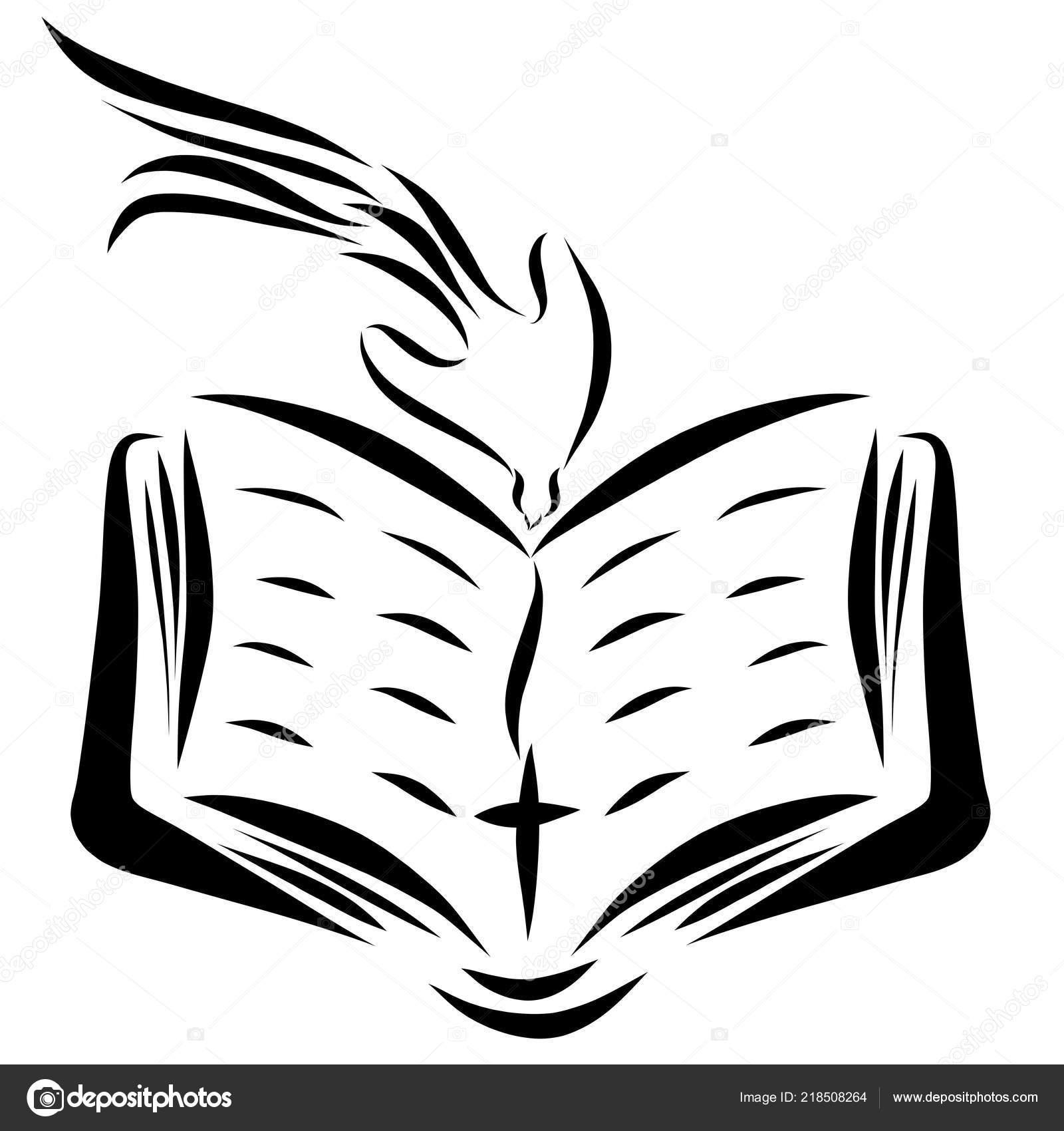 Una Biblia Abierta Una Cruz Una Paloma Descendiendo Del Cielo Foto