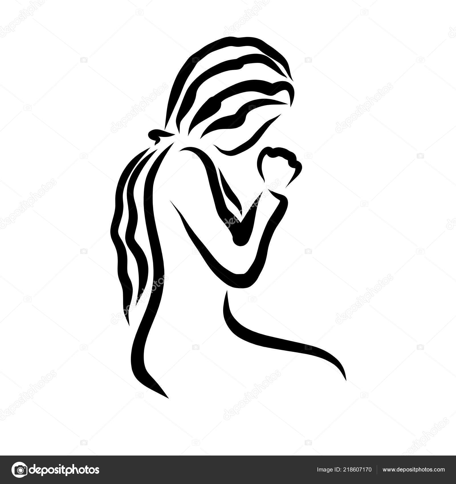 Young Woman Humbly Praying God Religion Stock Photo