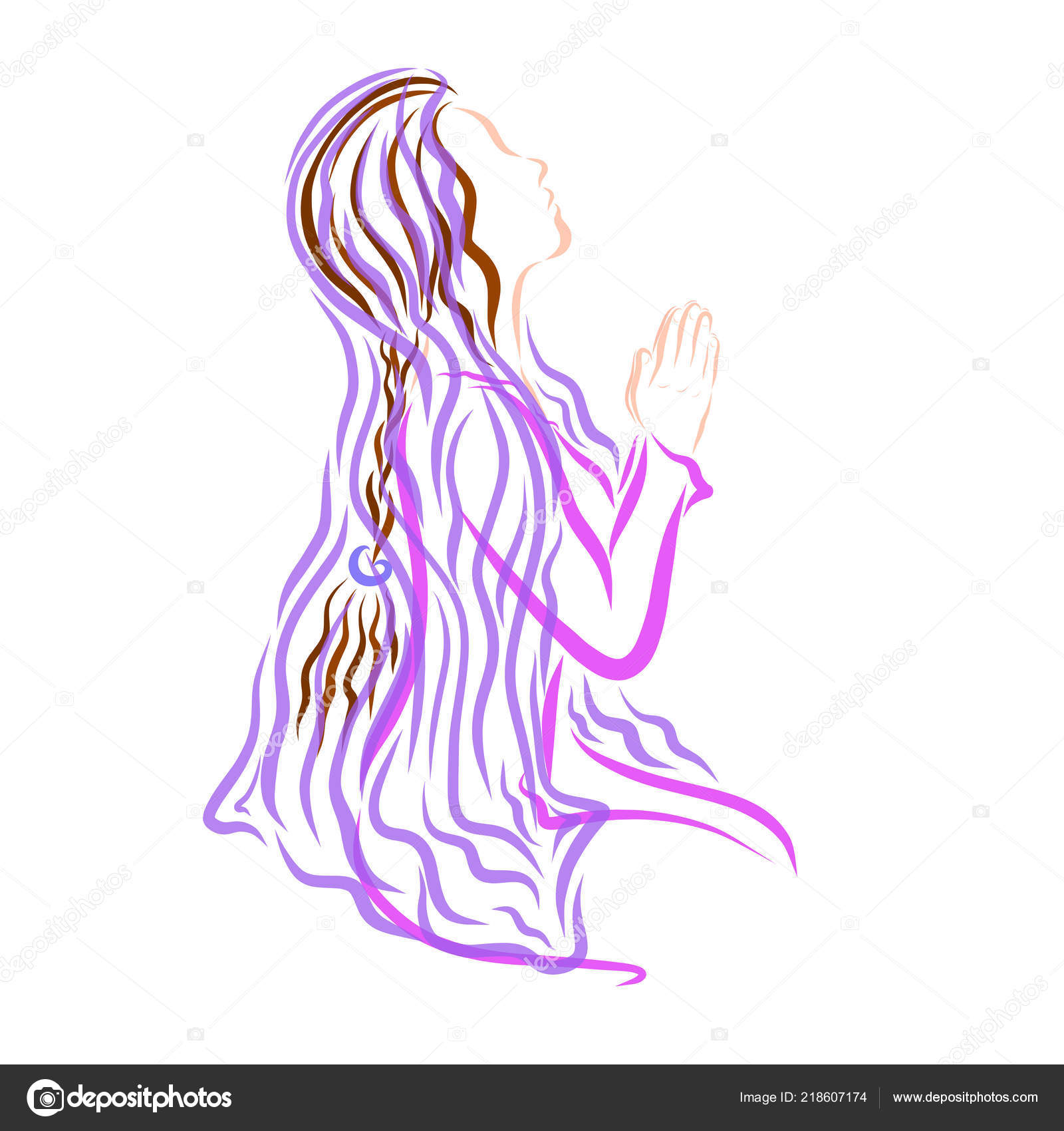 Young Praying Woman Lilac Dress Headscarf Her Head — Stock Photo