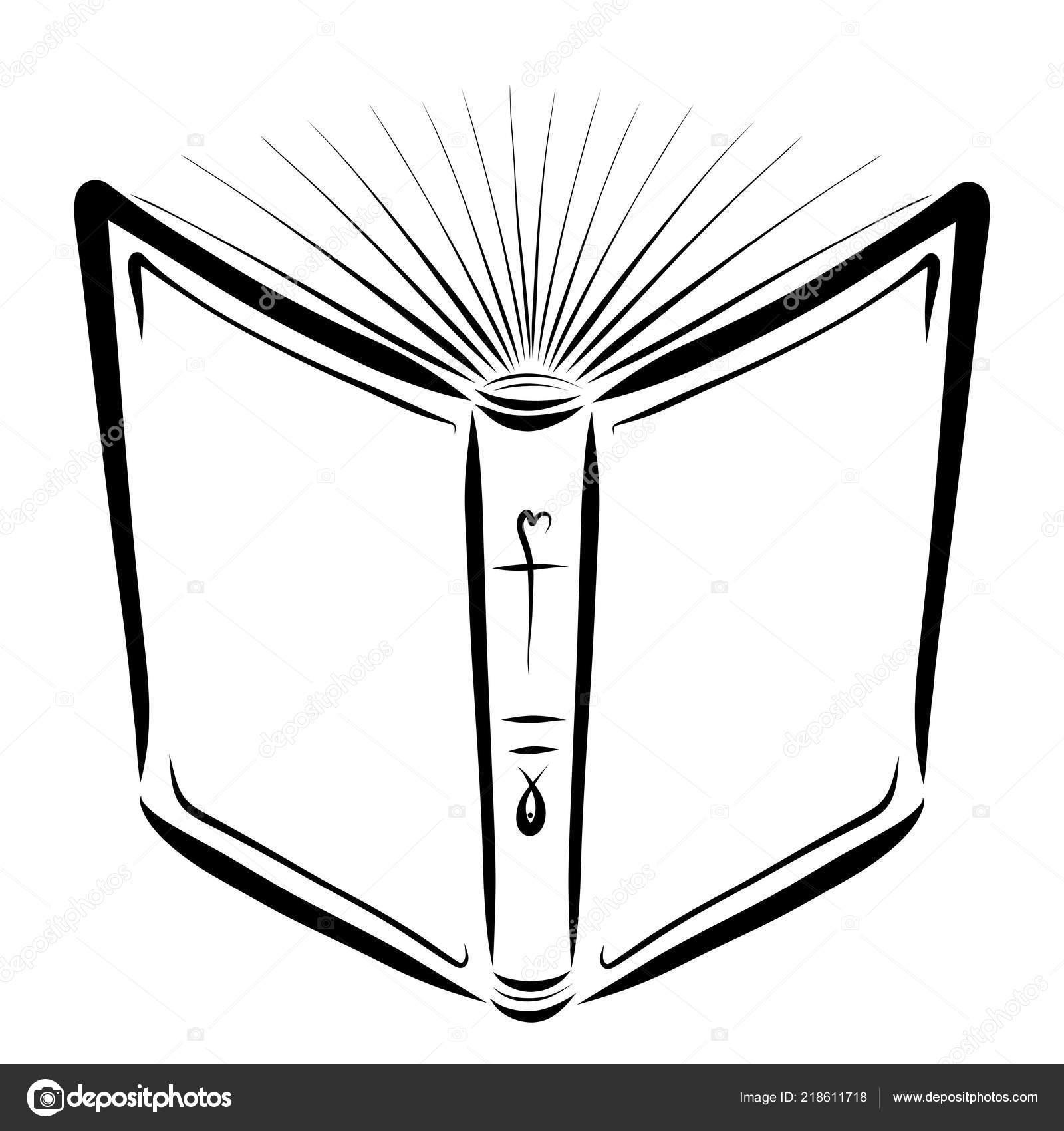 Biblia Abierta Dibujo Con Líneas Negras Religión Foto De Stock