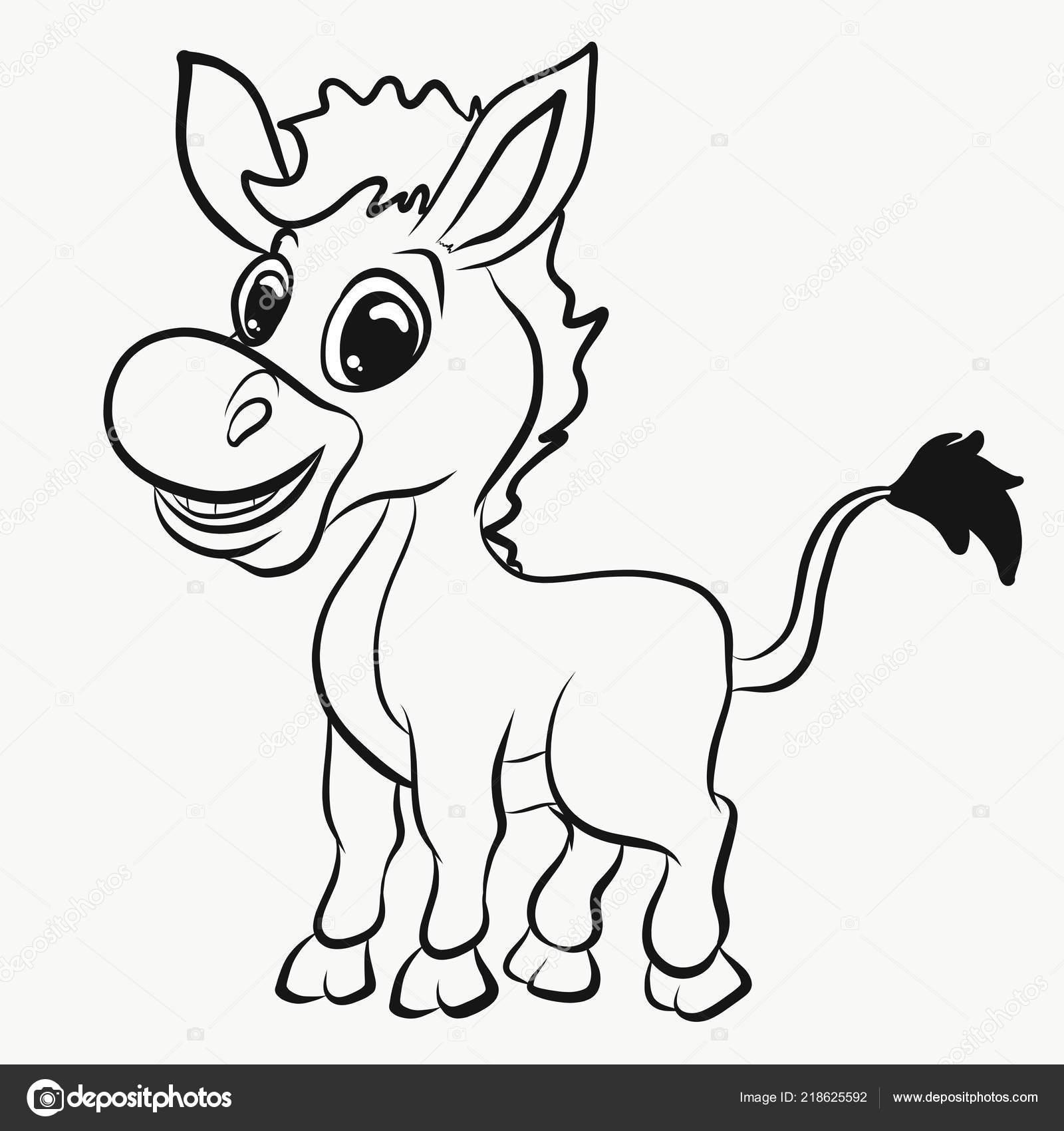 детская раскраска веселый ослик стоковое фото