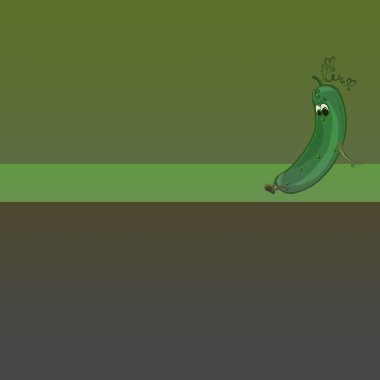 Background with a funny sad enamored cucumber