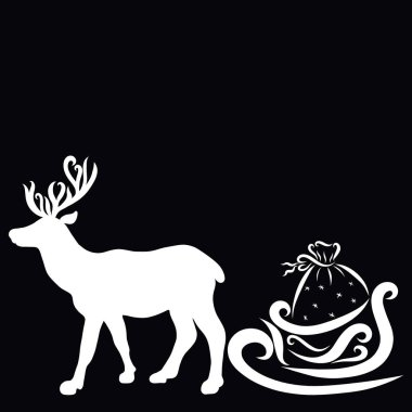 White silhouette of a graceful deer carrying a sleigh with gifts