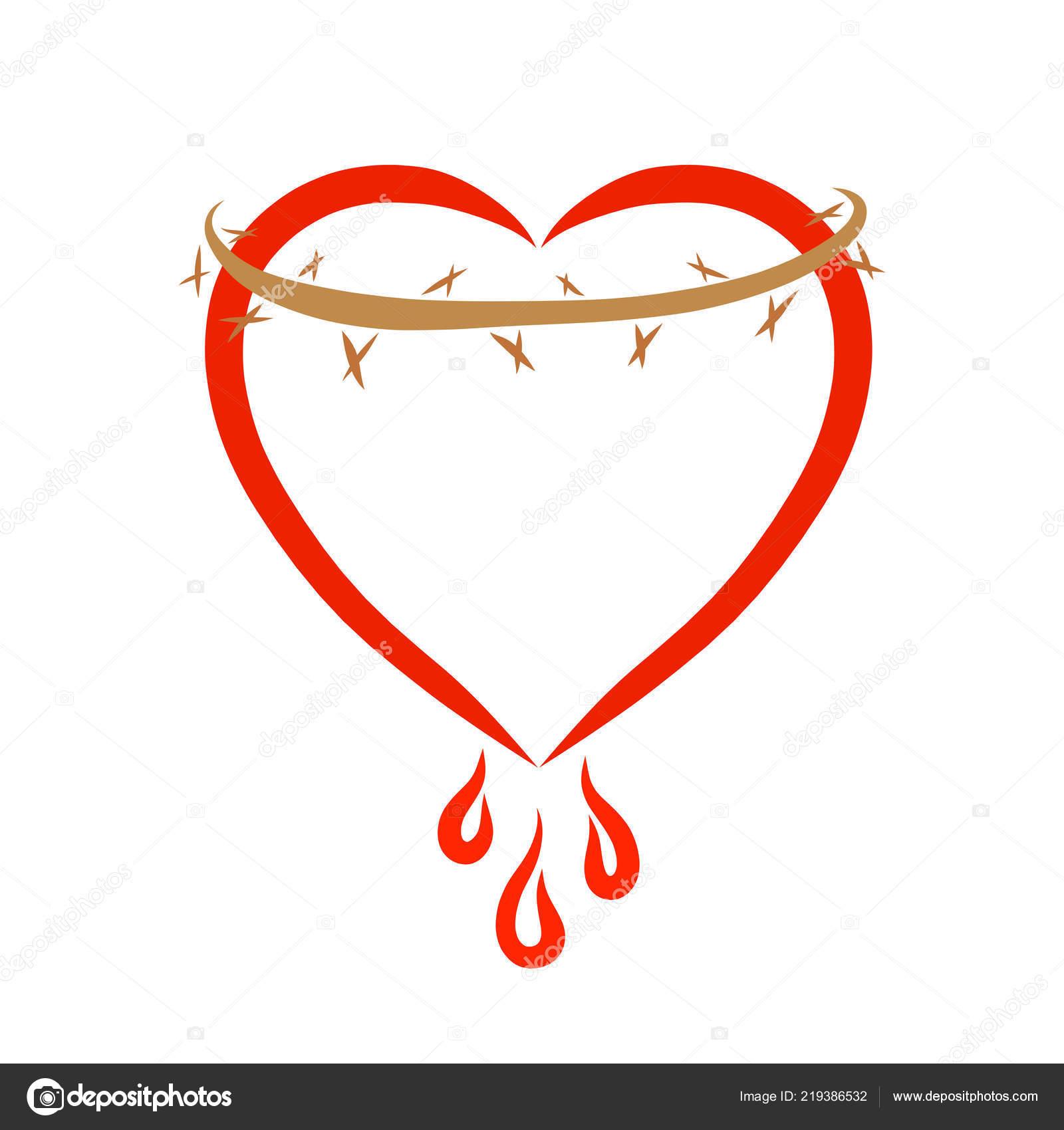 Heart Crown Thorns Drops Blood Sacrifice Christ — Stock Photo