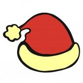 Red hat s žlutou srstí pro Santa Claus nebo elf