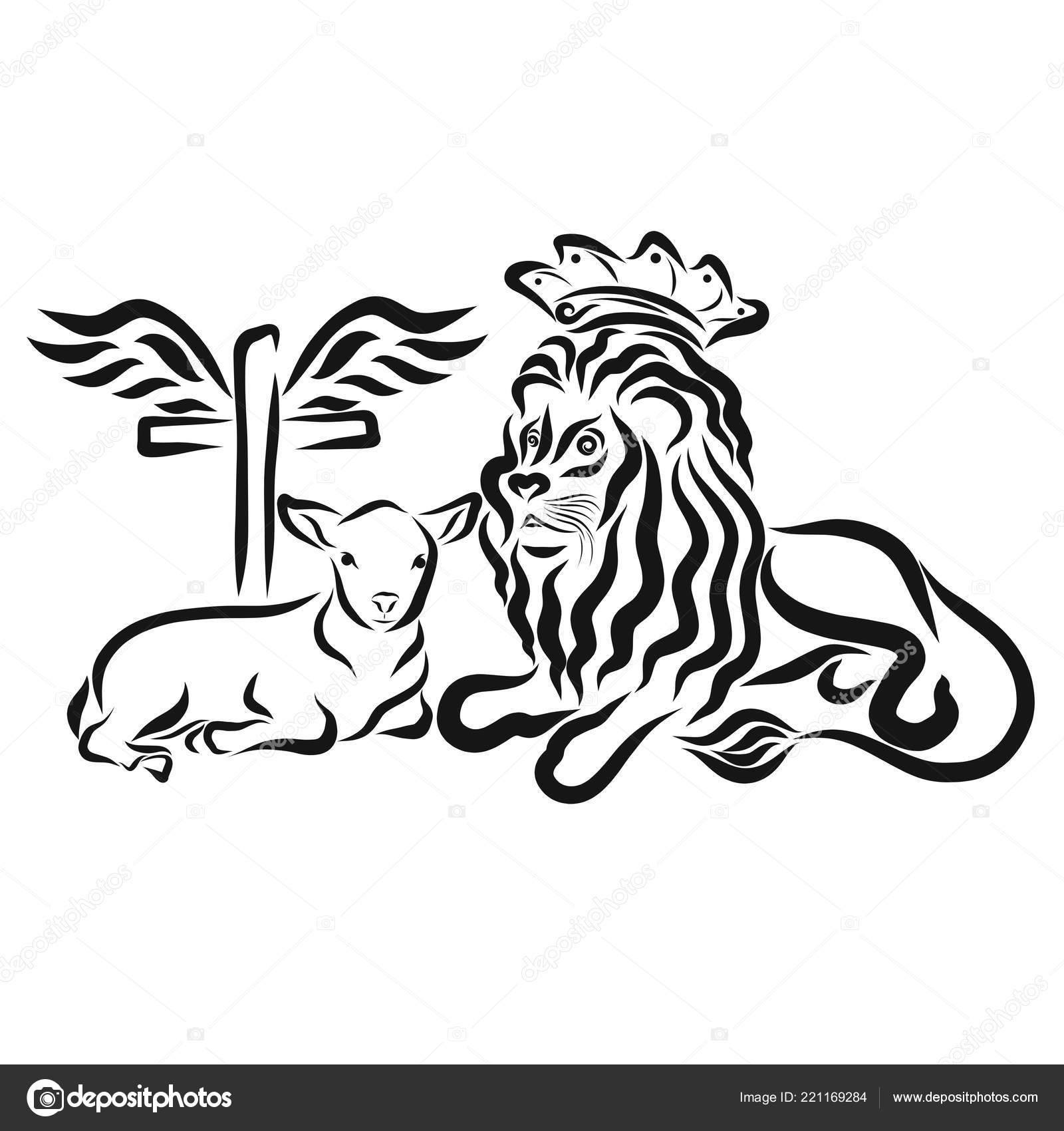 Humble Lamb Lion King Cross Wings Sacrifice Victory Stock Photo