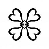 Fotografie Four-leaf clover or decorative flower, hearts, pattern