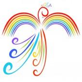 Rainbow bird, beautiful fairy animal, imagination and nature