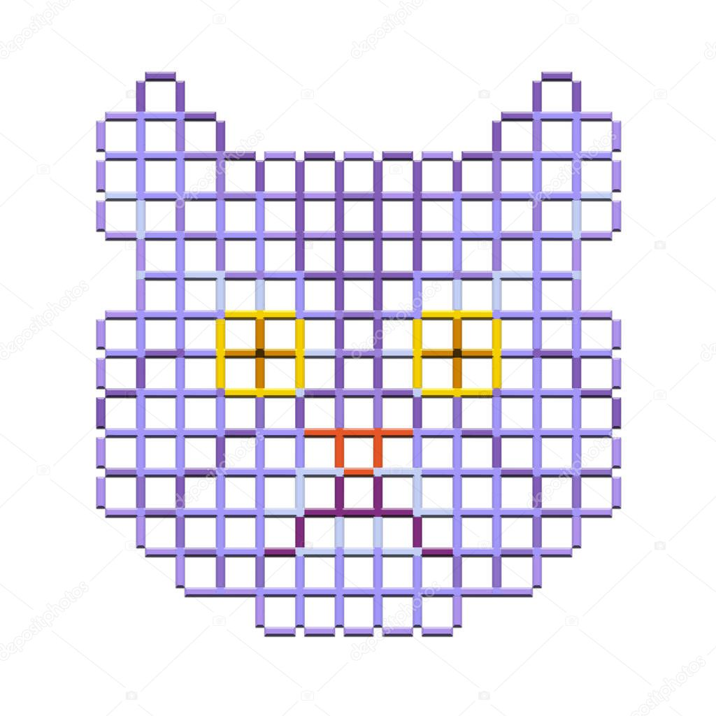Cat head, creative lattice volume pattern, lilac