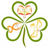 Fotografie Clover with three leaves, a fish with a cross, a bible and a bird