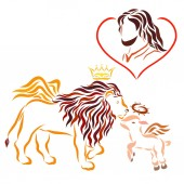 Fotografie The Lord Jesus in the heart, the winged lion in the crown, and the winged lamb with the crown of thorns