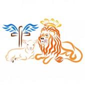 Fotografie Humble lamb, royal lion and winged cross