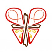 Fotografie Abstract Christian butterfly from a cross with a heart, symbolism
