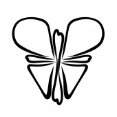 Fotografie Butterfly, cross and heart, Christian symbolism, black patter