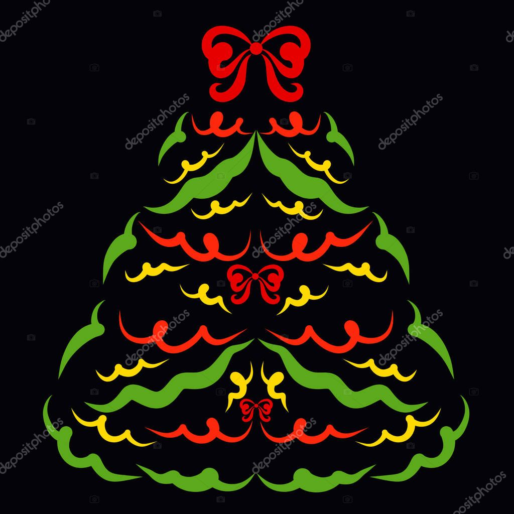 Christmas tree decorated with bows, pattern on black background