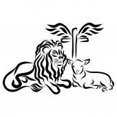 Fotografie Lion, lamb and cross with wings, symbolism