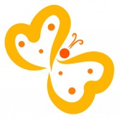 Fotografie Flying yellow butterfly of hearts and dots, pattern