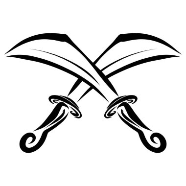two pirate swords or daggers, crossed, symbol