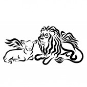 Fotografie winged lamb and winged lion together, peaceful