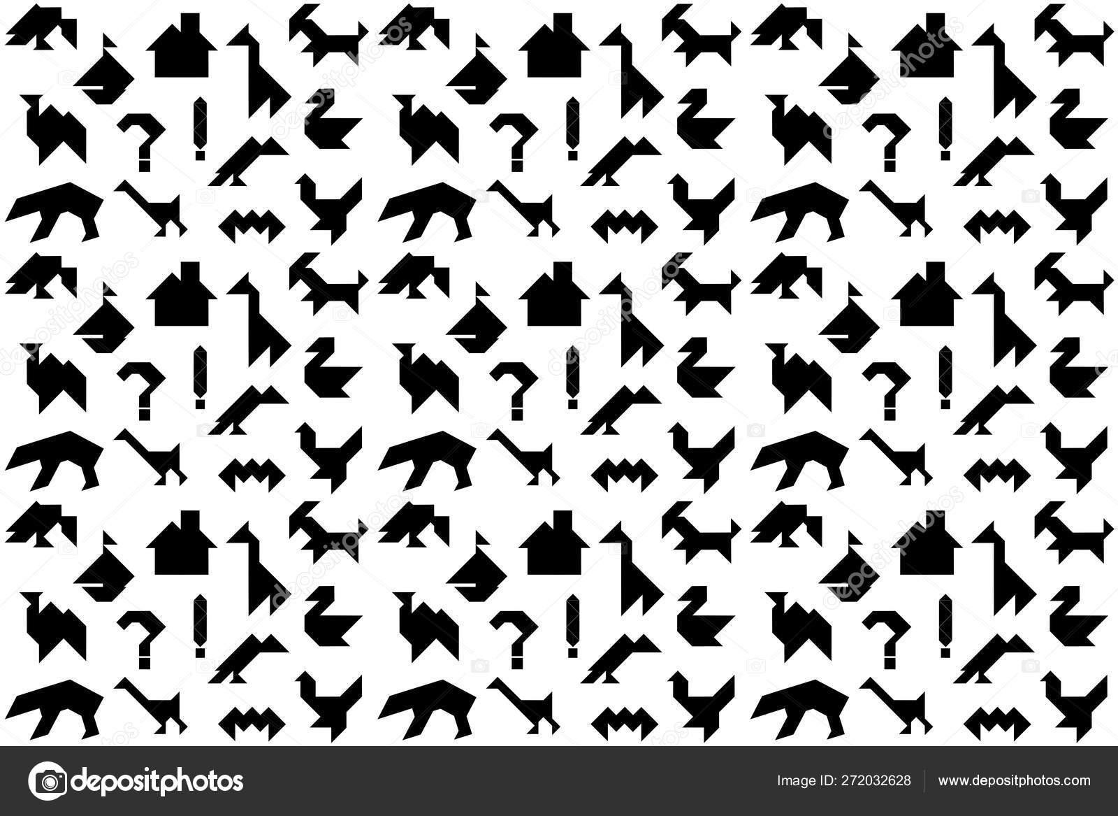 タングラムパズルのための異なる黒のシルエットを持つ背景