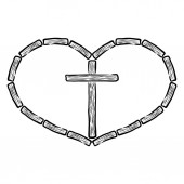 Fotografie wooden christian cross in a wooden heart