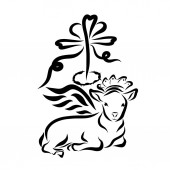 Fotografie winged lamb in a crown with a cross with a heart and a crown of