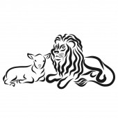 Fotografie Strong lion and young lamb together, black outline