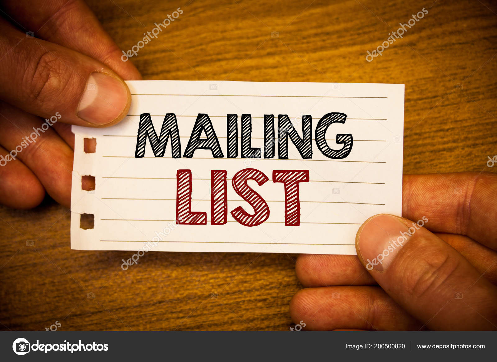 text sign showing mailing list conceptual photo names addresses