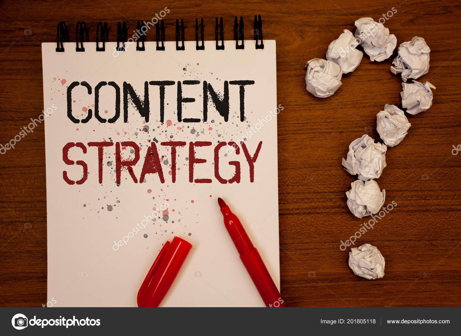 conceptual hand writing showing content strategy business photo