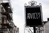 Word writing text Advice Question. Business concept for Counseling Encouragement Assist Recommend Support Steer Vintage black board sky old city vintage antique ideas message scaffolding