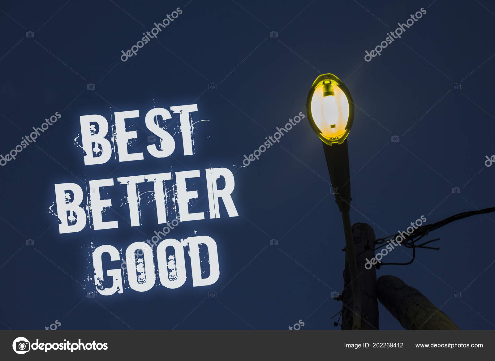 Business Concept For Improve Yourself Choosing Best Choice Deciding Improvement Light Post Dark Blue Cloudy Clouds Sky Ideas Message Enlighten Reflections