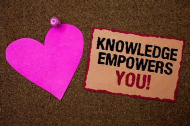 Conceptual hand writing showing Knowledge Empowers You Call. Business photo showcasing Education responsible to achieve your success Brown rug Ideas message pink heart love feelings thoughts