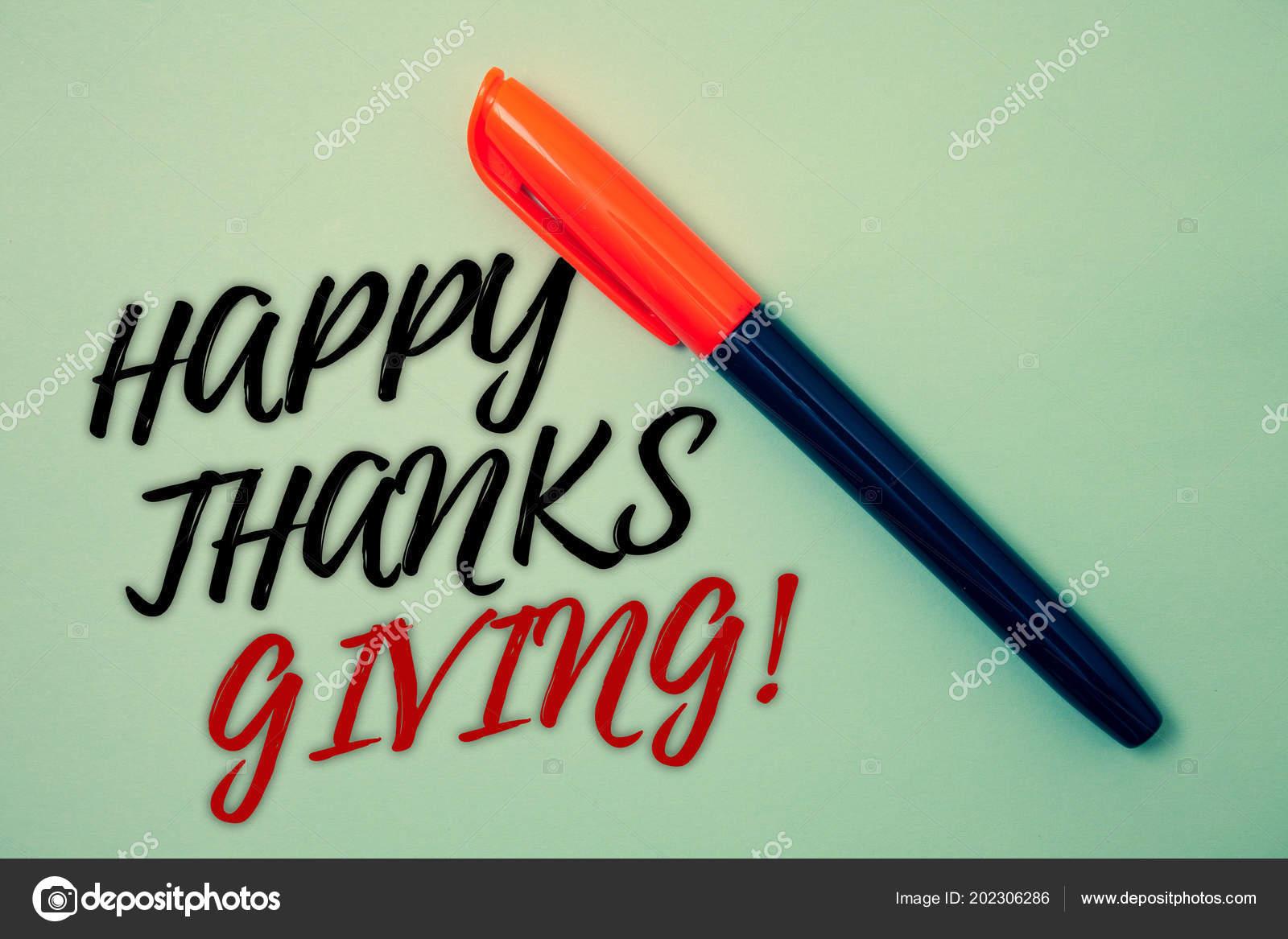 Sinal Texto Mostrando Feliz Obrigado Dando Motivacional