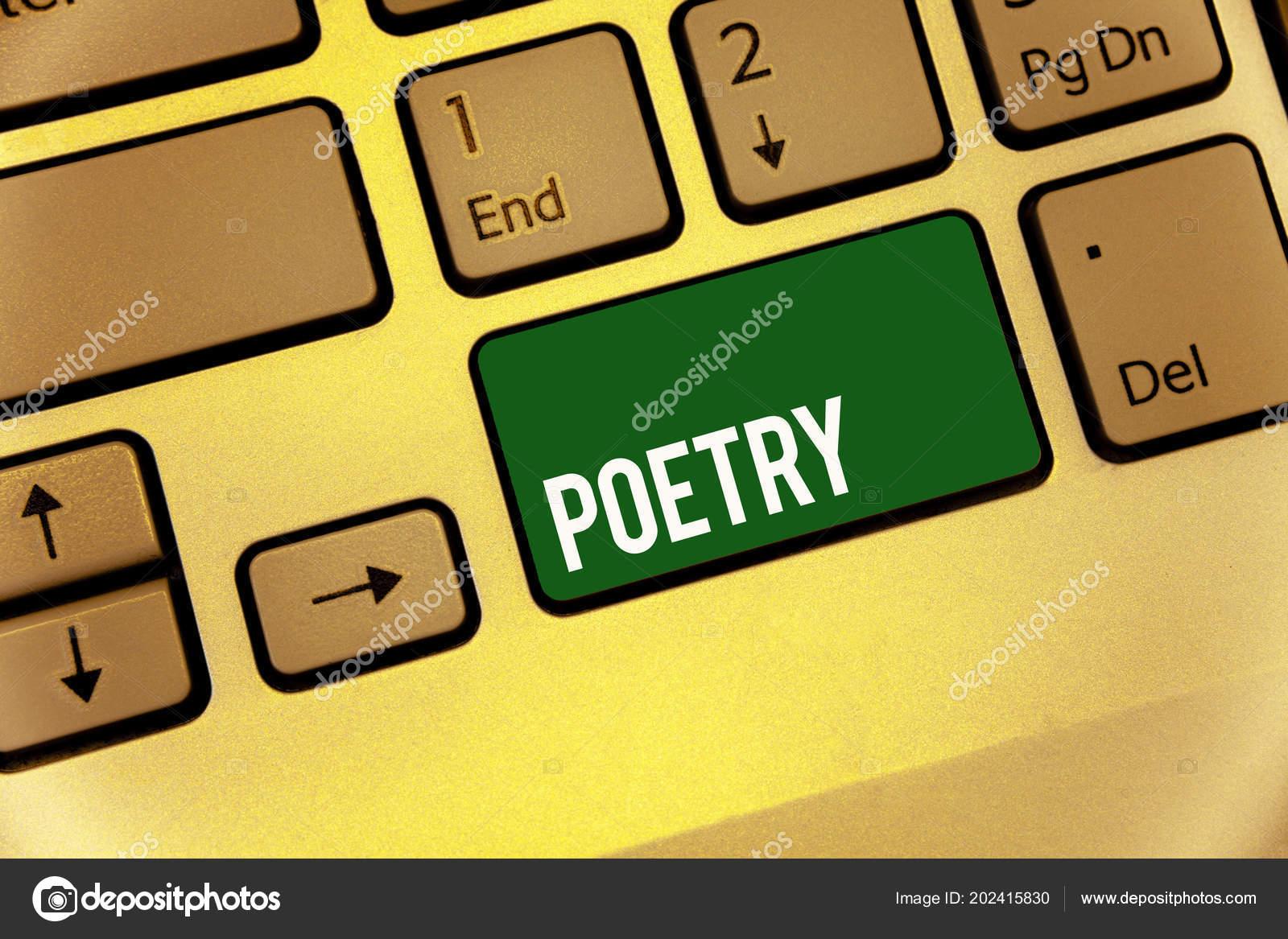 Conceitual Mão Escrevendo Mostrando Poesia Texto Foto