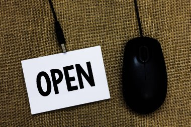 Writing note showing Open. Business photo showcasing Allow things to pass through or for immediate use Contrary of closed Sticky card type text convey message computer mouse jute background