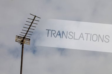 Writing note showing Translations. Business photo showcasing Written or printed process of translating words text voice Sky cloud cloudy grey gloomy tall big antenna nature rainy day weather