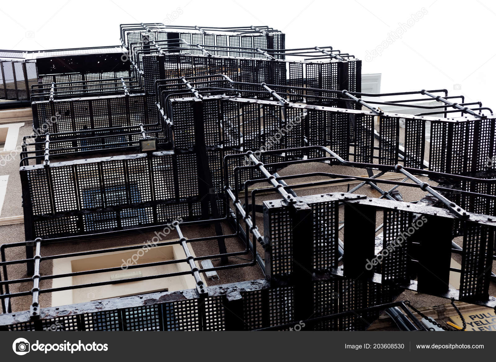 Metal Fire Escape Stairs Fire Escape Stairs Building Stairs Back U2014 Stock  Photo