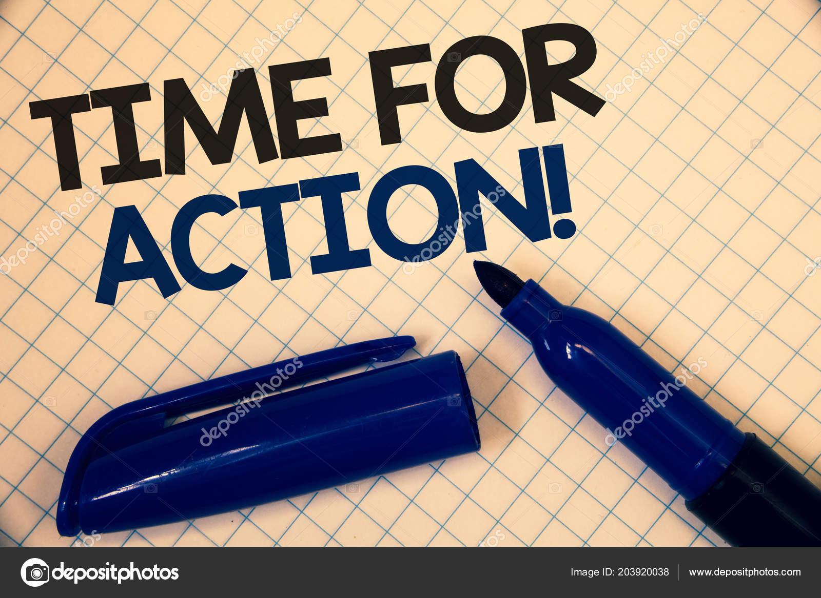 Texto Caligrafia Escrever Tempo Para Ação Motivacional