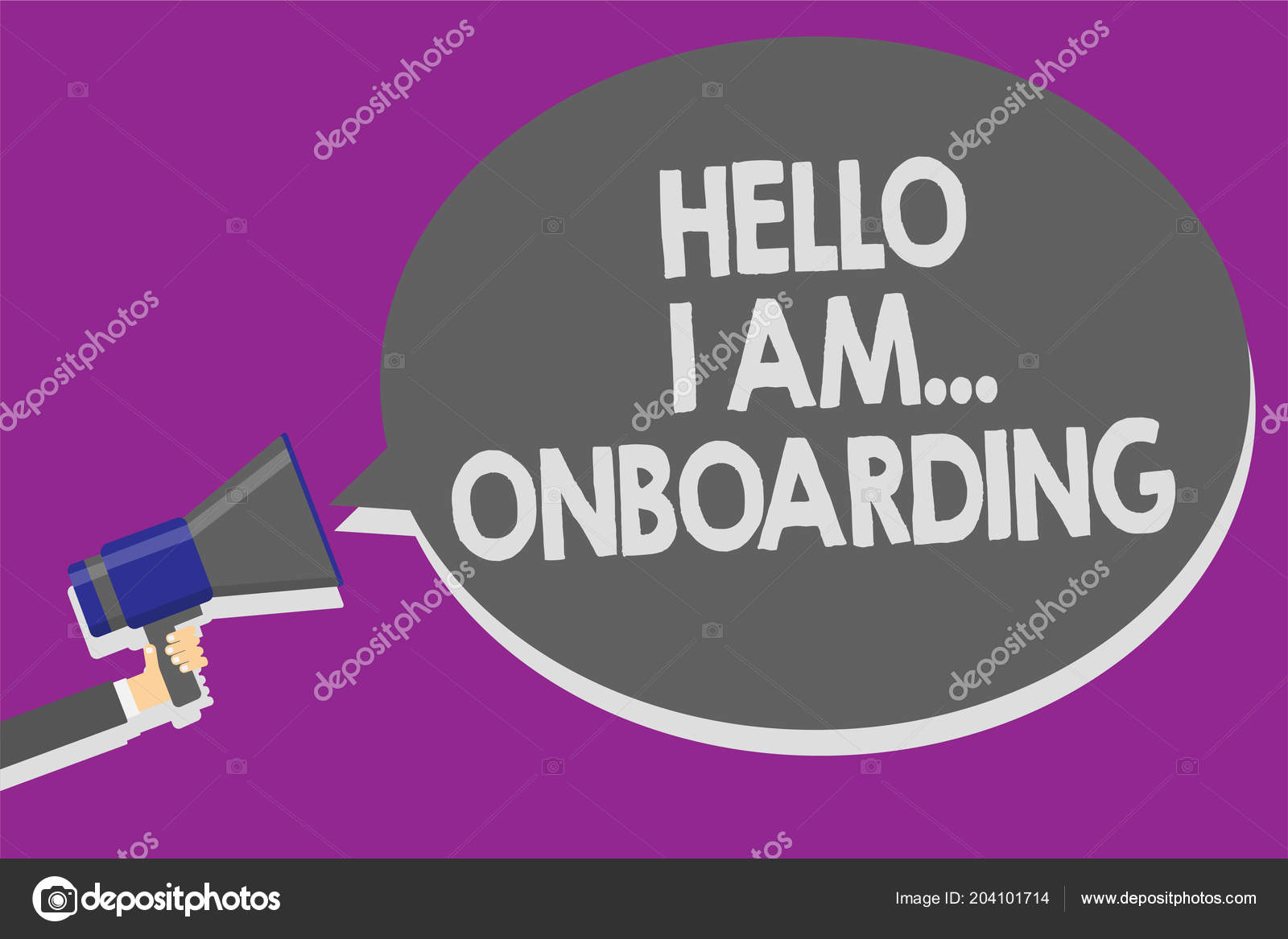 Handwriting Text Hello Onboarding Concept Meaning Telling Person You