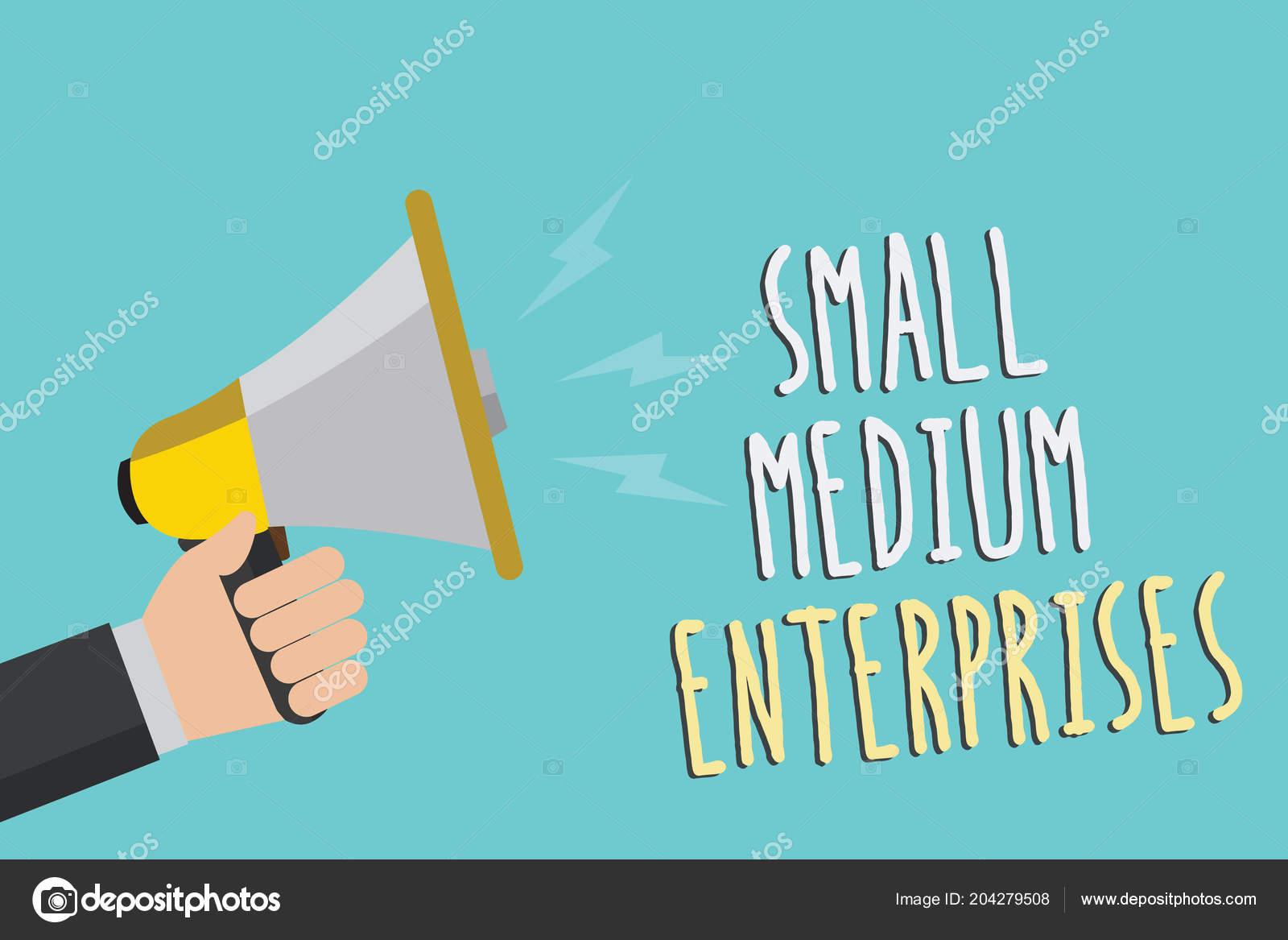 d37fc91c275 Text Sign Showing Small Medium Enterprises Conceptual Photo Companies Less  — Stock Photo