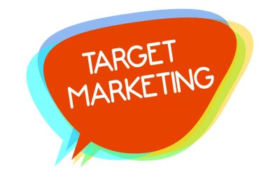 Conceptual hand writing showing Target Marketing. Business photo showcasing Audience goal Chosen clients customers Advertising Multiline text layer design pattern red background think