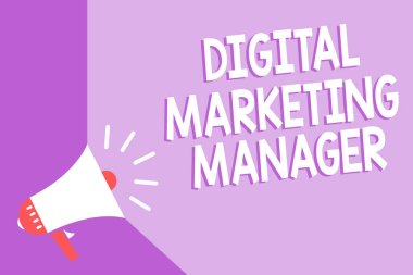 Word writing text Digital Marketing Manager. Business concept for optimized for posting in online boards or careers Megaphone loudspeaker purple background important message speaking loud