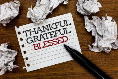 Text sign showing Thankful Grateful Blessed. Conceptual photo Appreciation gratitude good mood attitude Paper lumps laid randomly around white notepad touch black pen on woody floor