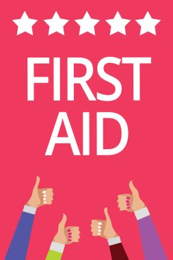 Word writing text First Aid. Business concept for Practise of healing small cuts that no need for medical training Men women hands thumbs up approval five stars information pink background