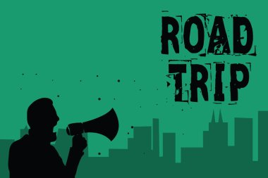 Word writing text Road Trip. Business concept for Roaming around places with no definite or exact target location Man holding megaphone speaking politician making promises green background