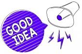 Schreibnotiz, die gute Idee zeigt. Business-Foto zeigt Zustand des menschlichen Gehirns, um große Intelligenz in Richtung etwas Megafon Lautsprecher blaue Sprechblase Streifen wichtige Botschaft zu bringen