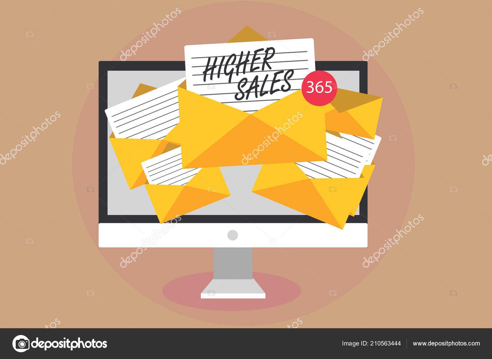 26e9b5290 Slovo, psaní textu vyšší tržby. Obchodní koncept pro průměrného prodávají  produkty a služby společnosti rozrostla počítač, který přijímá e-maily  důležité ...